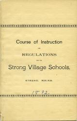 School course and regulations booklet cover, Strong, 1892