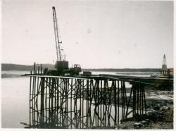 Temporary trestlework for bridge, Lubec, ca. 1961