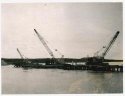 Pier placement for bridge, Lubec, ca. 1961