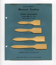 Mustard paddle samples, Forster Mfg. Co., Strong, 1947