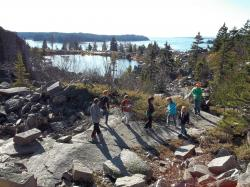 Students exploring Baird's Quarry