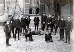Schoolyard sports, St. Peter's School, Lewiston, 1925