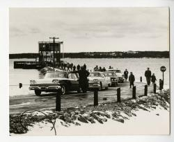 Unloading the first ferry, Swan's Island, 1960