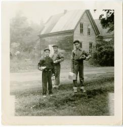 Staples brothers waiting for the bus, Swan's Island, ca. 1955