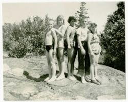 Swimmers at the Quarry Pond, Swan's Island, ca. 1960