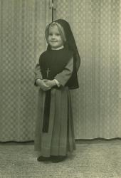 Felicia Garant in nun's habit, Lewiston, 1964