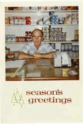Maynard Staples at his store, Swan's Island, 1966