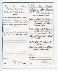 William H Martin's monthly return summary, 1864-65