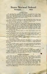 Farmington State Normal School General Rules, c. 1924
