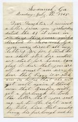 Letter from William Haley to his daughter Elzira, 1865