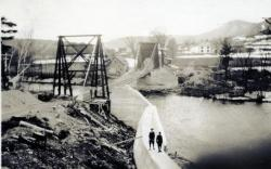 North abutment and wing completed under the old bridge, Strong, ca. 1921