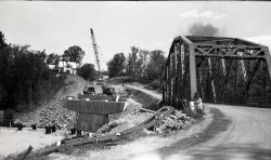 Tri-Span bridge under construction, Strong, 1965
