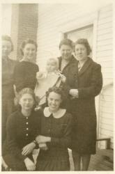 Home Ec students with Cottage baby, Farmington State Normal School, ca. 1939
