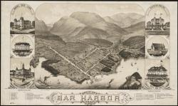 Bird's eye view of Bar Harbor in the heyday of hotels, cottages and Indian encampments, 1886