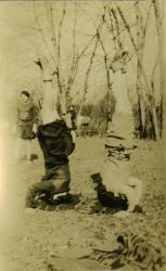 Student headstands, Farmington State Normal School, ca. 1929