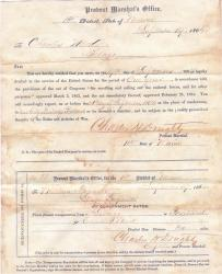 Charles Weed's Draft Notice September, 1864