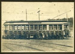 Portland Railroad Co. trolley and workers