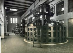 Interior of Gulf Island hydro station, ca. 1927