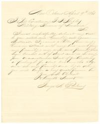 George Perkins request for furlough, New Orleans, 1863