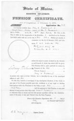 Mary Calderwood pension certificate, Augusta, 1871