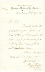 Gen. Butler to Gen. Shepley on duties in Virginia, 1864