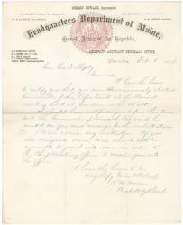 G.F. Shepley election as commander of Maine GAR, 1877