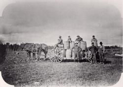 Potato diggers with wagon load of potatoes, Washburn, 1910