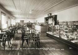 Ice Cream Parlor at the Arcade, East Machias, 1927