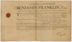 Samuel Freeman postmaster appointment, 1775