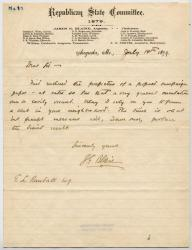 Letter from James G. Blaine to G.L. Randall, July 14, 1879