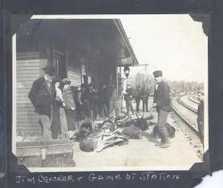 Passengers and game awaiting train, Norcross Station, ca. 1905