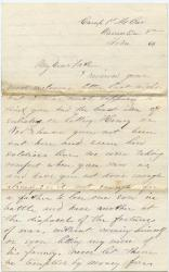 Pvt. John Sheahan advice to not enlist, Virginia, 1864