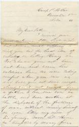 Pvt. John Sheahan advice to not enlist, Virginia, 1864