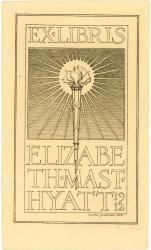 Elizabeth Mast Hyatt bookplate, 1912