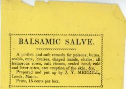 Balsamic salve advertisement, ca. 1860