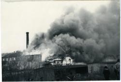 Fire inside of Diamond National lumberyard, Biddeford, 1963