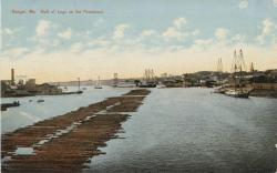 Penobscot River lumber raft at Bangor, ca. 1905