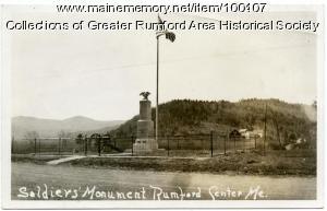 Civil War soldier's monument, Rumford Center, 1921