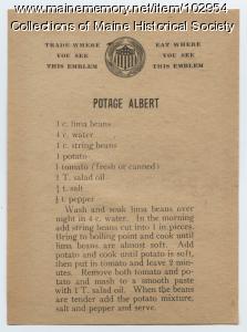 Potage Albert recipe, ca. 1917