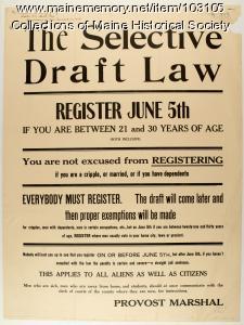 Selective Service Draft Law registration poster, 1917