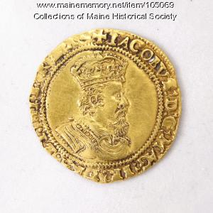 King James I English double crown coin, Richmond Island, 1618