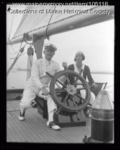 """Lawrence Tibbett aboard the """"Rhoda"""", ca. 1925"""
