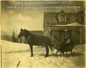 Winter sleigh, Westport Island, ca. 1908