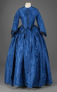 Phebe Cole's electric-blue taffeta dress, Alexander, ca. 1863