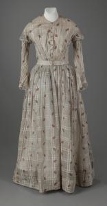 Victorian-era cotton dress, ca. 1855