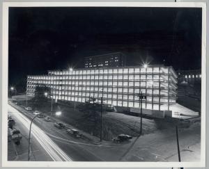Maine Medical Center parking garage at night, Portland, 1973