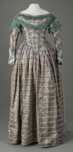 Detachable sleeve crinoline dress, ca. 1855