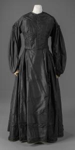 Black taffeta dress, ca. 1865