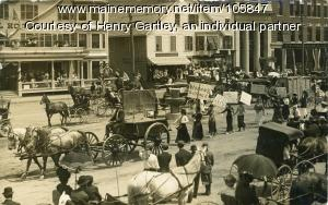 Women's Suffrage march in Market Square, Houlton, ca. 1912