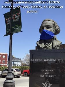 Keeping George safe in Market Square, Houlton, 2020